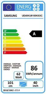 Samsung UE40KU6100 eficiencia energética