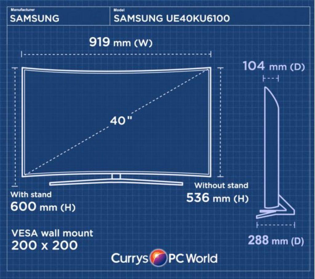 Samsung UE40KU6100 medidas