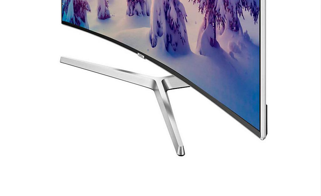 Samsung UE55MU9005. Detalle de peana y marco. Plateado y brillo para diseño 360º.