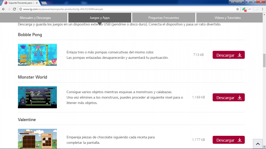 LG 43LJ5150, página soporte de LG para descarga de los juegos.