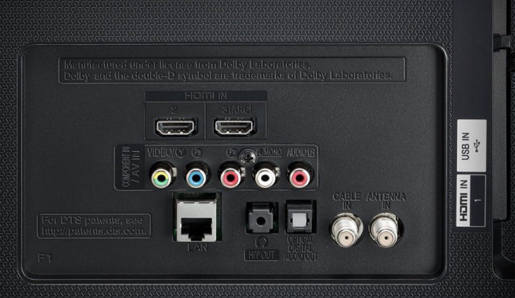 lg 55uh605v, panel trasero de diseño plástico y conexiones.