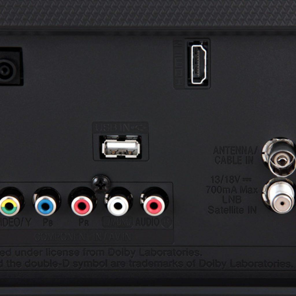 LG 49LH510V, parte de la conectividad física que incorpora.