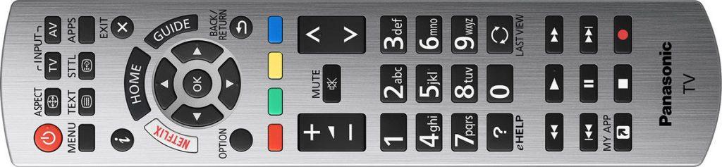 Panasonic TX-65EX780E Mando de control remoto con diversas funcionalidades.