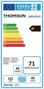 Apreciamos la certificación energética tan buena del televisor