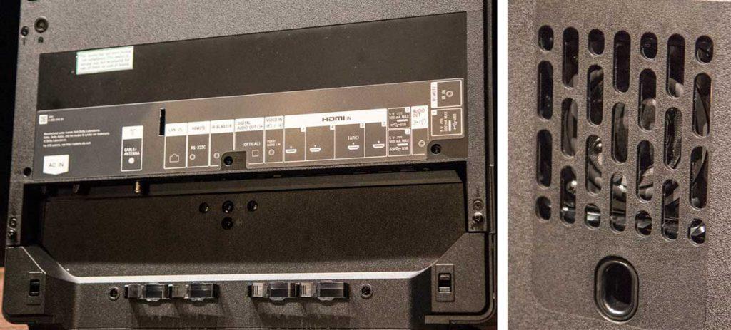 Sony KD-55A1. Conectividad en soporte trasero y subwoofer.