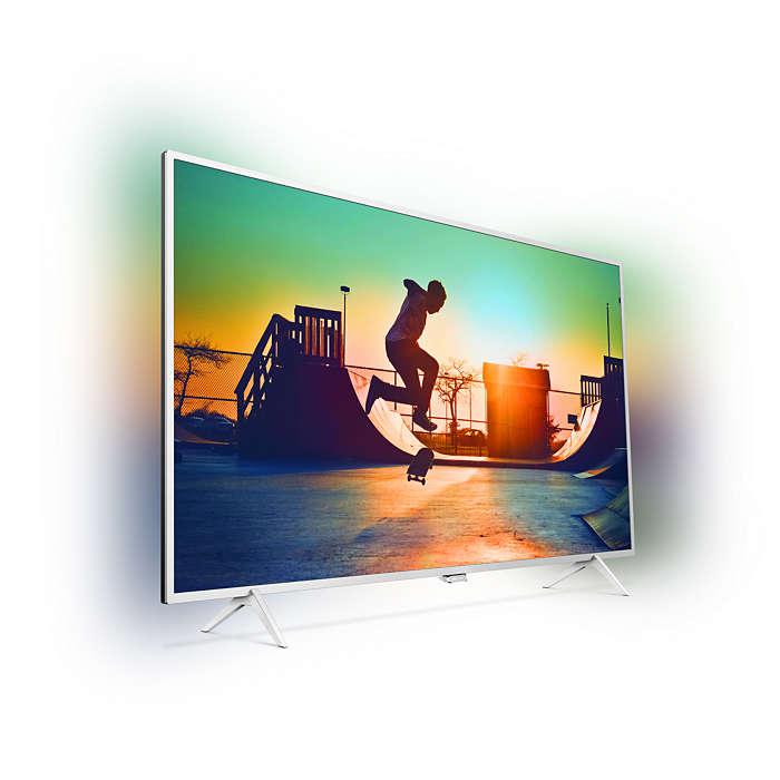 Aquí vemos el diseño del televisor con su soporte