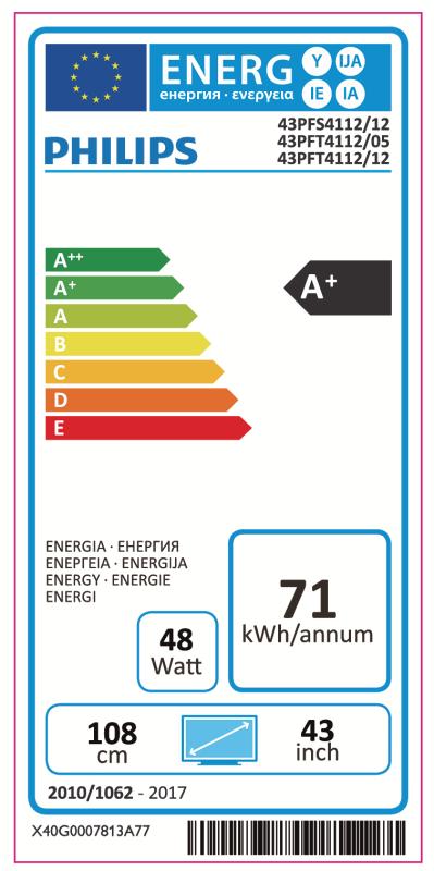 Philips 43PFT4112/12 tiene una certificación energética A+