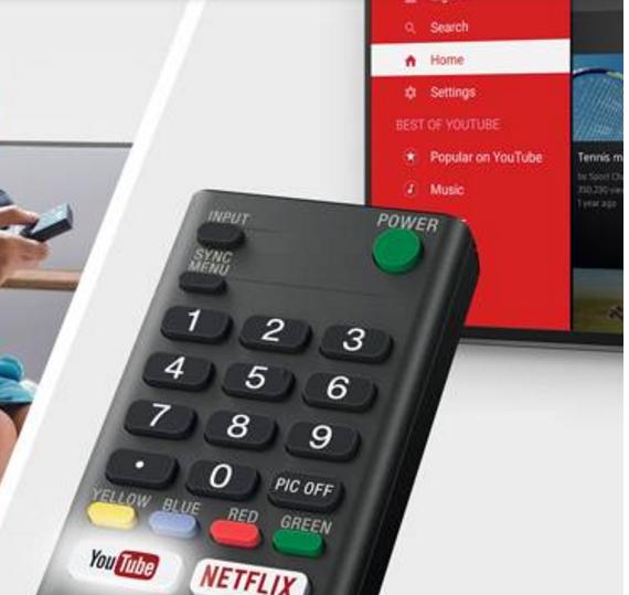 Sony KD55XE7096BAEP con botones de acceso directo en el control remoto a Youtube y Netflix, (este último si lo contratas).