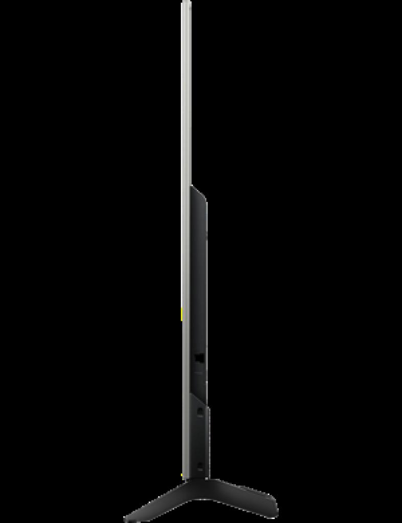 Sony KD55XE7077SAEP con perfil Slim y casi 6 cm. de espesor. El soporte en su cara trasera gestiona el orden de los cables.