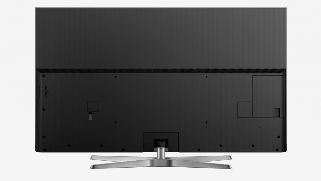 Panasonic TX-75EX780E trasera negro con tapaderas para ocultar las conexiones.