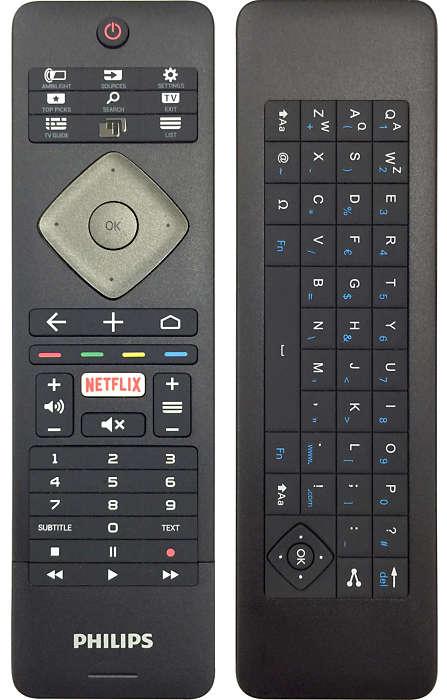 El mando incluye un teclado para facilitar la navegación
