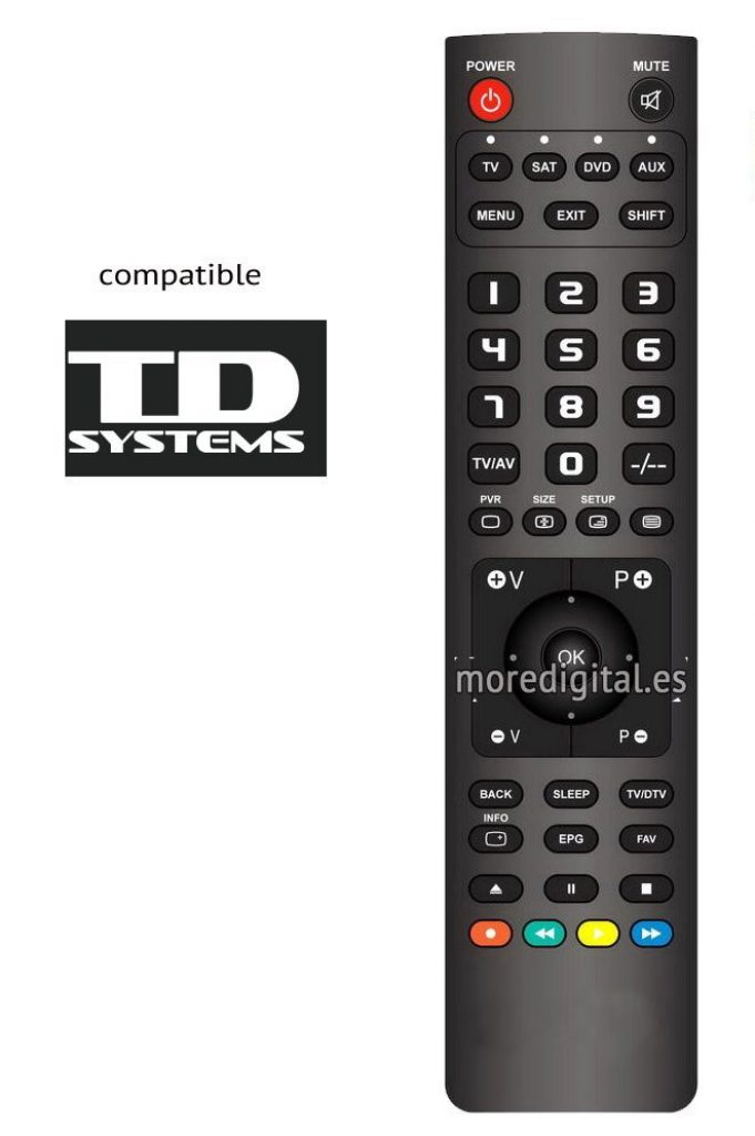 Este es el mando del TD Systems K48DLS6F, compatible con el resto de televisores de la marca