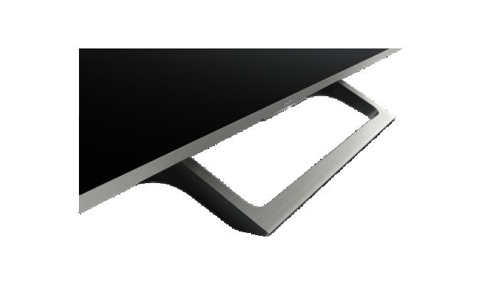 Sony KD55XE7077SAEP con soporte oculta cables en pizarra plateada.