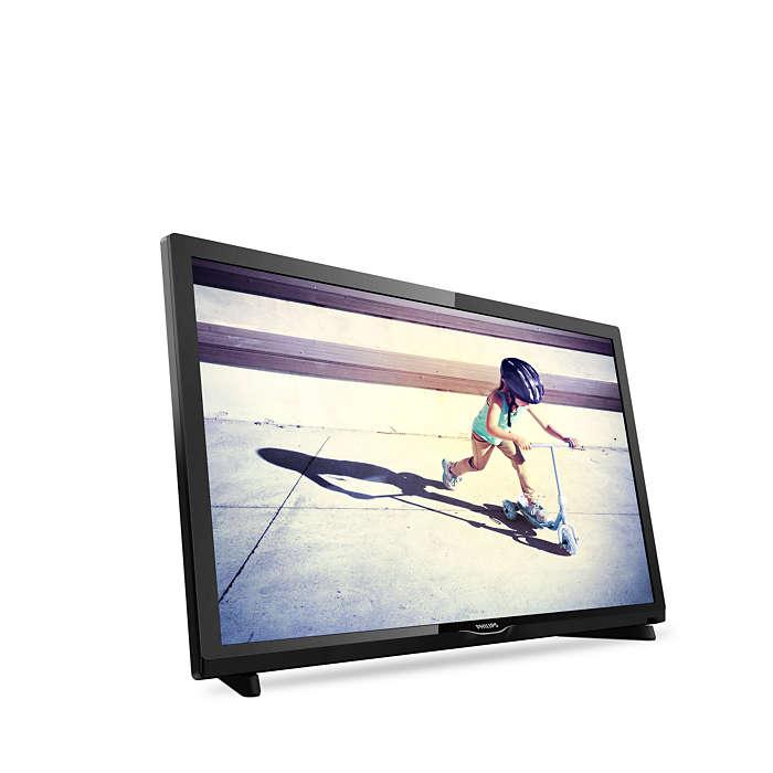 Así luce el televisor montado en peana
