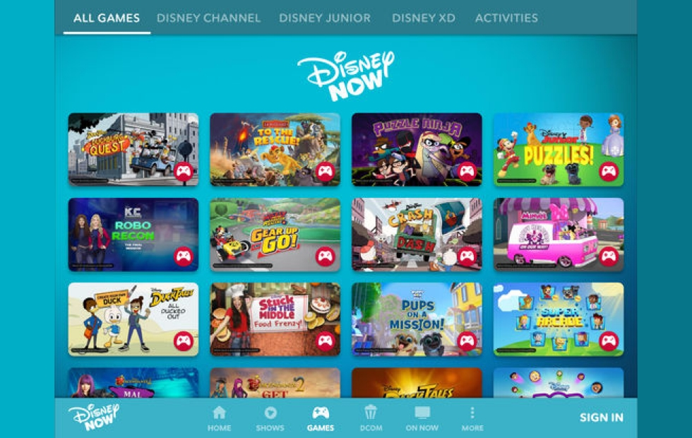 Aquí vemos la selección de juegos en la app