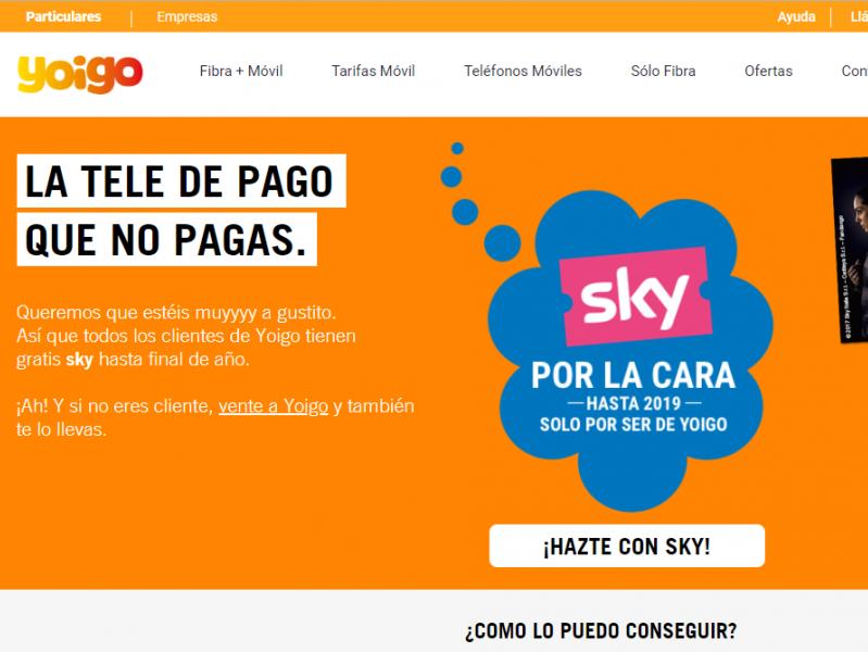 Sky gratis con Yoigo