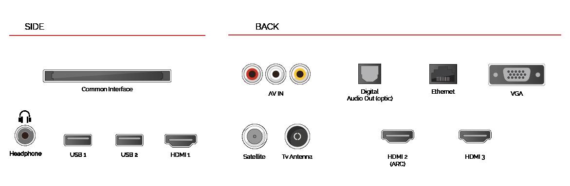 Aquí se ven los conectores que incluye este modelo