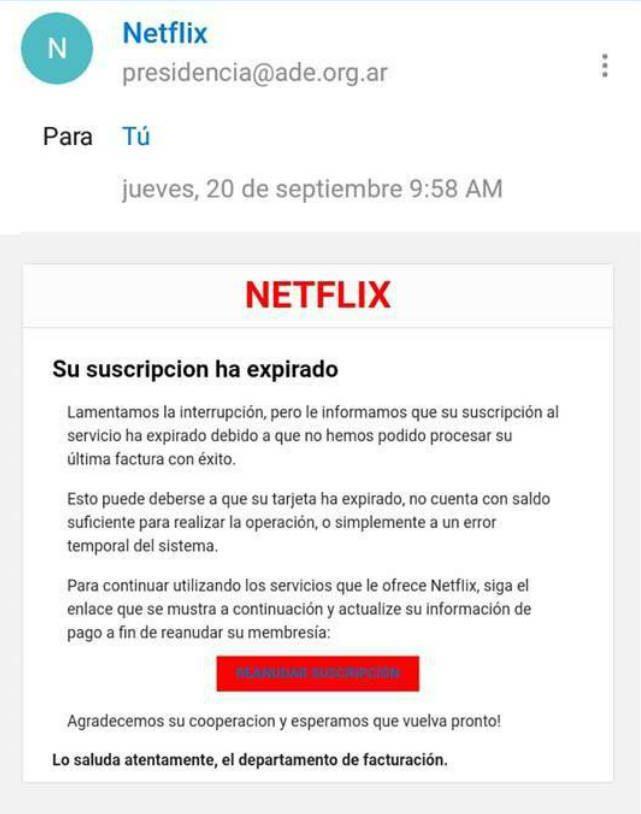 Así es este falso email de Netflix