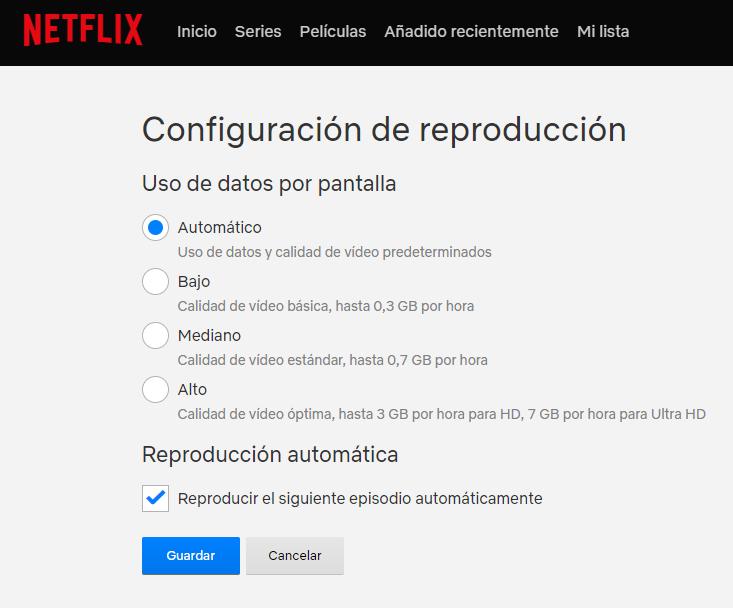 Así podemos ver Netflix consumiendo pocos datos