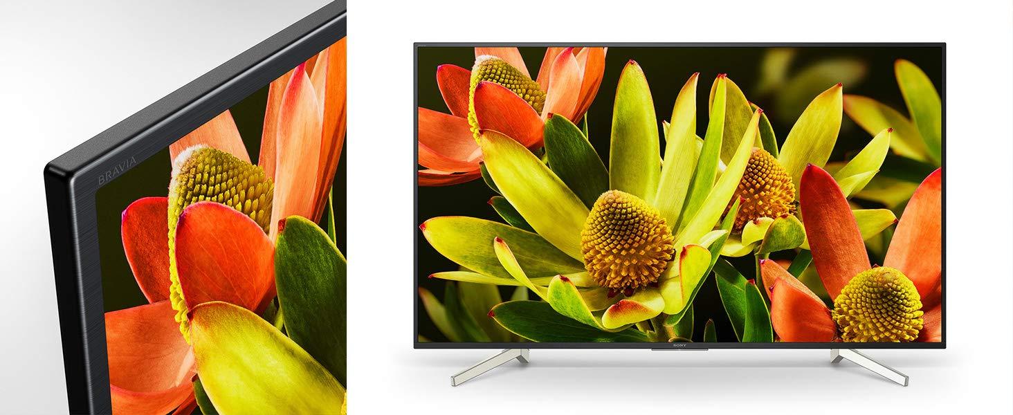 Aquí vemos tanto el detalle de sus marcos como el aspecto total de la TV Sony KD60XF8305BAEP