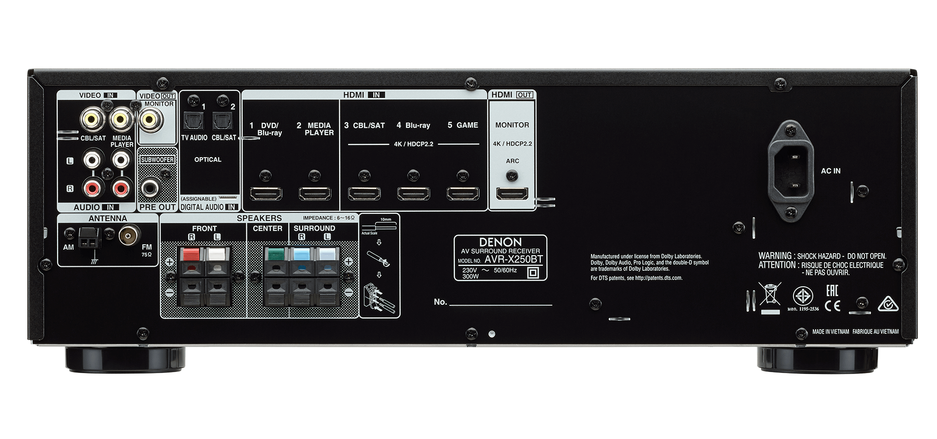 Las conexiones físicas del Denon X250BT, al dorso