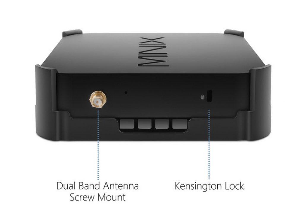 Minix Neo Z83-4 Plus - Lateral izquierdo - Antena Wi-Fi, seguro Kensington