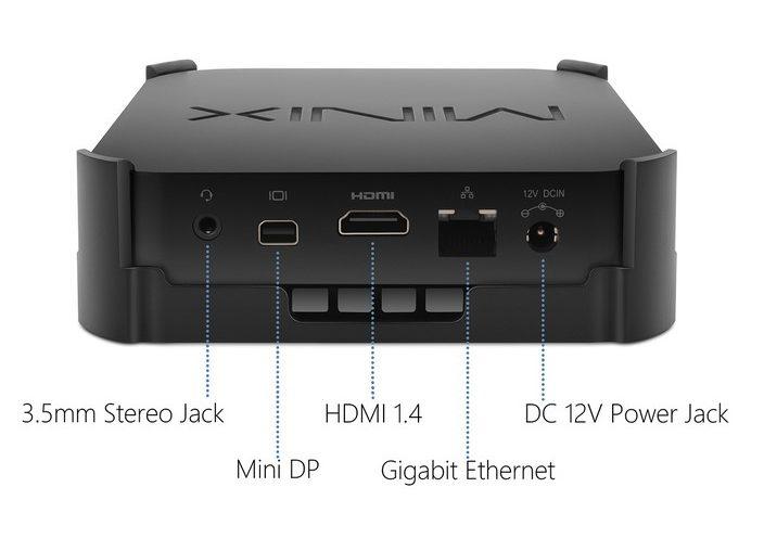 Minix Neo Z83-4 Plus - Parte posterior - Puerto de 3.5mm, Mini DP, HDMI, LAN