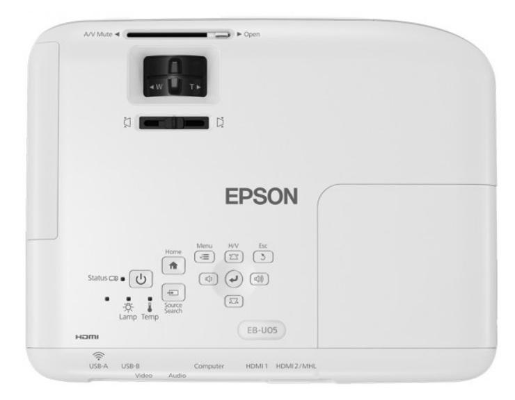 Epson EB-U05 - Indicadores LED y botones de control