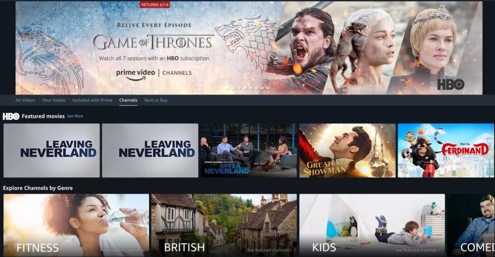Así se ve el servicio de canales a la carta en Amazon Prime Video en otros países