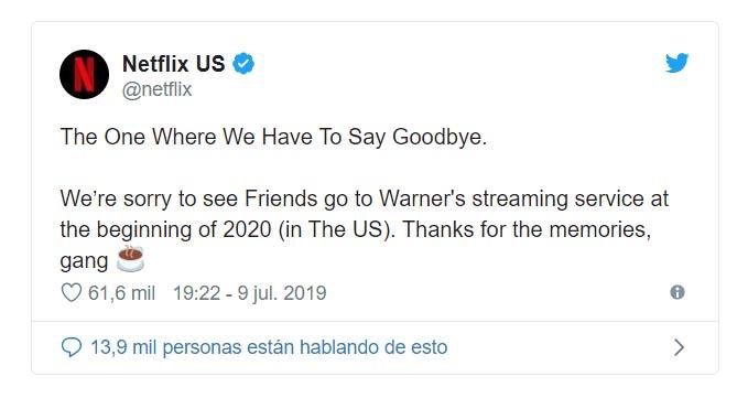 Netflix nos hacía saber que perdía la exclusividad de la icónica serie Friends