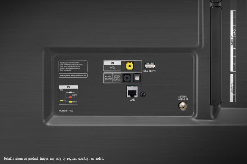 Apreciamos, aquí, las conexiones del LG NanoCell 75SM9000