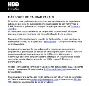 El comunicado por el que HBO da a conocer la subida de precio de su suscripción