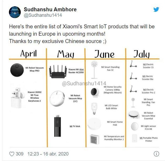 Supuesta filtración de los productos Xiaomi que están por llegar