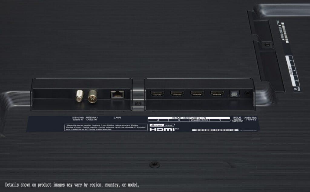 En el LG 65GX vemos estos conectores físicos al dorso
