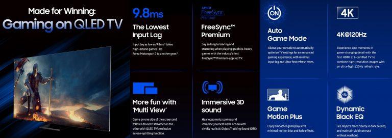 Características de la nueva hornada de televisores gaming de Samsung