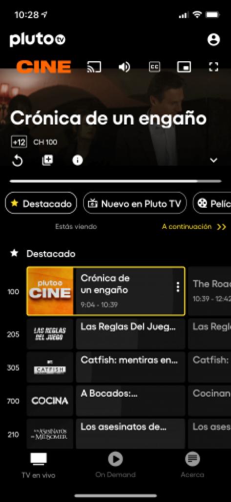 Aquí vemos el icono para lanzar el contenido a un Chromecast