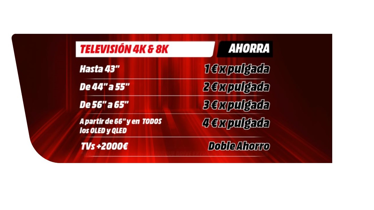 oferta por pulgadas nueva TV